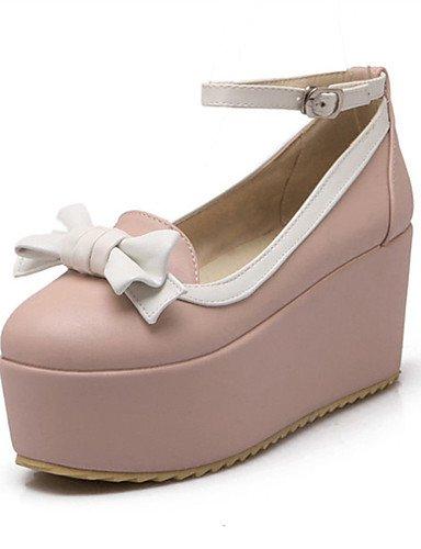 WSS 2016 Chaussures Femme-Mariage / Habillé / Décontracté / Soirée & Evénement-Bleu / Rose / Blanc-Talon Compensé-Compensées-Talons-Similicuir pink-us6 / eu36 / uk4 / cn36
