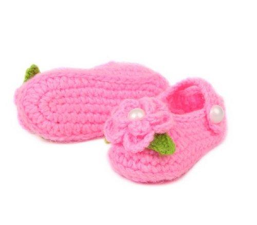 Y-BOA – Chaussures Tricoté Bébé Fille/Garçon – 0~18 Mois – Automne/Hiver – Chaussette/Chausson Laine Souple (#5 Rose Fleur) #5 Rose Fleur