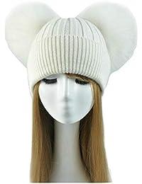 Cappello Cashmere Doppio PON PON Pelliccia Cappellino Cuffia Donna Uomo  Bambina Bambino Hat Fur Murmasky Woman 21312afb2f90