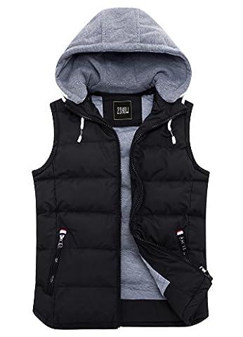 ZSHOW Homme Veste Sans Manches Rembourré en Coton Léger Gilet à Capuche(Noir, X-Large)