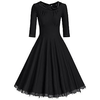 MUXXN Women's Rockabilly Vintage 1950s 3/4Sleeve Swing Dress - Black - Small
