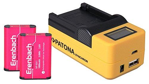 3in1-SET LCD Schnell Ladegerät (mehr Leistung / mehr Flexibilität) für den Sony HDR-PJ410 Full HD Camcorder + 2 ERENBACH Markenakkus für Sony NP-BX1 (1000mAh) --- 4in1 Ladeset (u.a. mit USB / micro-USB und Kfz/Auto)