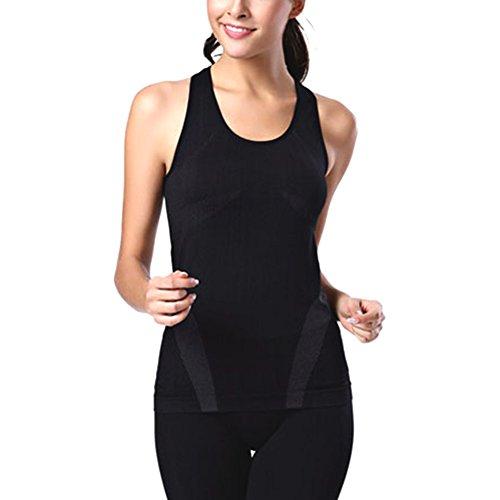 ESHOO Femmes Tight Vest Débardeur élastiques Sport Courir Fitness Jogging Tops Yoga Gilet Noir