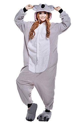 JT-Amigo Damen Herren Tier Kostüm Pyjama Jumpsuit Schlafanzug Overall, Koala Kostüm, Gr. M