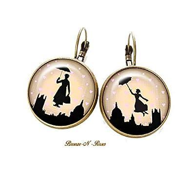 Boucles d'oreille merci nounou cadeau nourrice bronze cabochon