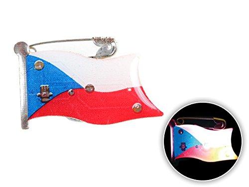 Spilletta LED con luce intermittente bandiera repubblica ceca czech republich spilla pin badge calcio europei mondiali tifosi ultra (99) - Personalizzati Pin Badge