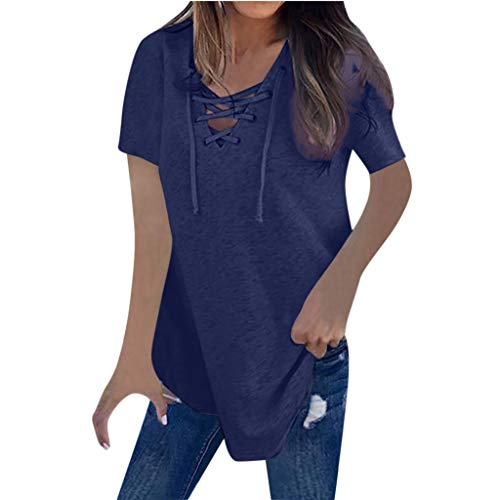 DEELIN Tops Damen Pullover Bluse Langarm Shirts Frauen Elegant Wild Solide V-Ausschnitt Verband KurzHemd -