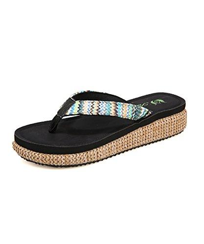 CHAOXIANG Pantofole Da Donna Antiscivolo Con tacco Ciabatte Piatte Sandali Da Surf Nuova Estate Ciabatte Spiaggia ( Colore : D , dimensioni : EU36/UK4-4.5/CN37 ) C