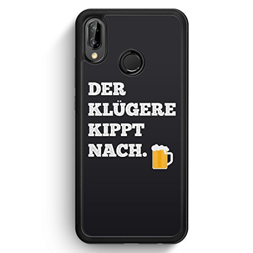 Der Klügere Kippt Nach. Bier - Huawei P20 Lite SILIKON Hülle - Motiv Design Spruch Lustig Cool Witzig - Handyhülle Schutzhülle Cover Case Schale