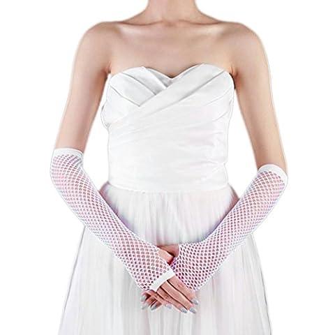 Saingace gloves Punk Goth Dame Disco Tanz Kostüm Spitze Fingerless Mesh Fischnetz Handschuhe (Weiß)