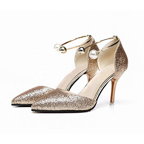 Women es Pointed Fashion High Heels Spring And Summer Charming High-Heeled Sandals Casual Shoes High Heel,Gold,34 -