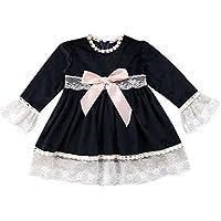 Ropa Bebe niña Talla 00,(12M-4T) Pajarita de Manga Larga para niños con Vestido de Panel de Encaje,Negro,80,90,100,110,120