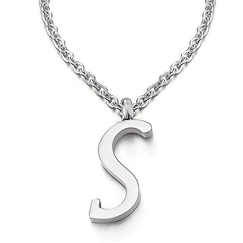 COOLSTEELANDBEYOND Name Initiale Alphabet Buchstaben S Anhänger Edelstah Halskette für Damen Herren Farbe Silber mit 50cm Stahl Seil-Kette