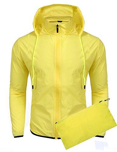Chaqueta Impermeable amarilla para hombre. Con Capucha