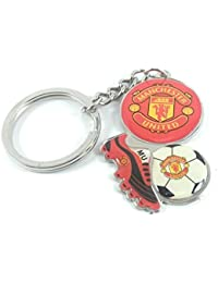 Key Era Manchester Football Club With Ball & Boot Emboss Multi Colour Metal Keychain & Keyring For Bikes, Cars...