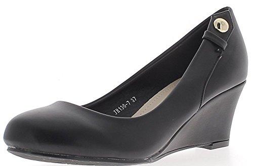 ChaussMoi Chaussures Femme Compensées Noires Bouts Ronds à Talon DE 6 cm