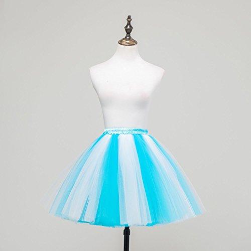 Honeystore Damen's Mini Tutu Ballett Mehrschichtige Rüschen Unterkleid Weiß Blau