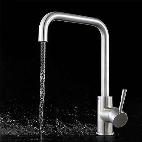 Homdsim pivotant robinet mitigeur de cuisine Eau robinet évier de cuisine Robinets de lavabo obturateurs anti-rouille sans tuyau