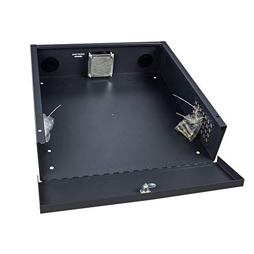 Wand- oder Bodenmontagegehäuse, strapazierfähig, 16 Gauge, Stahl NVR & DVR Security Lockbox mit AC-Ventilator 15 x 15 x 5 Inches schwarz Dvr-wand