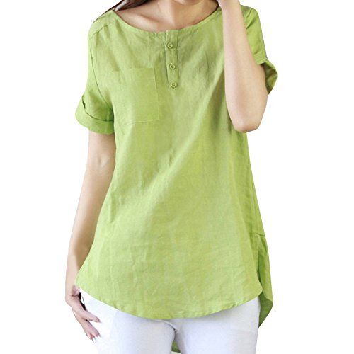 de1e849e575aaf AG&T AnswerL Women's Henley Collo Piatto Abbottonato Tunica Casual a Maniche  Corte Camicetta Camicie T-