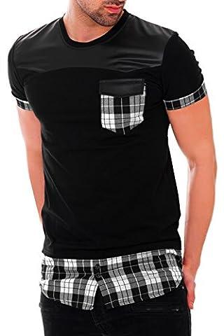 BLACK MAKI Herren T-Shirt Longshirt Long Oversize Hemdeinsatz kariert Karohemd