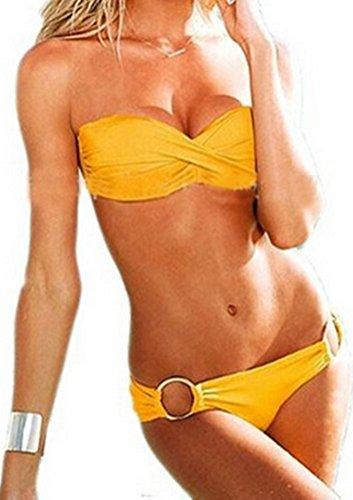 Demarkt Damen Bikini Satz Twist Bandeau Tops and Cheeky Hipkini bottoms Wattierten Cups Badeanzug Gelbe
