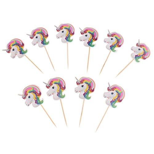 MagiDeal 10 Stück Einhorn Kuchenaufsatz Kuchendeko Cupcake Topper Kuchen Picks Für Baby Dusche Kindergeburtstag Party Deko