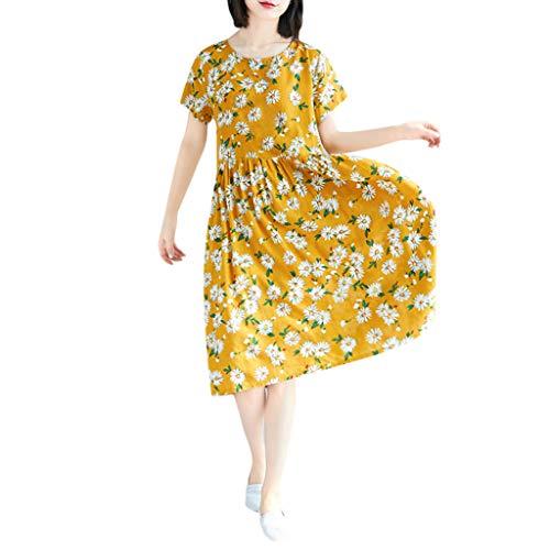 Nncande Sommer Plus Size Daisy Blume Muster Koreanisches Kleid ,Damen Lose Vintage Kurzarm Casual Knielanges Kleid Lässiges Damenkleid Kurzärmliges Strand Dress O-Neck Umstands Kleidung Strandkleid (Daisy Up Dress)