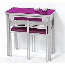 Mesa de cocina de 80x40 cm con apertura libro y tapa de cristal. Disponible en varios colores.