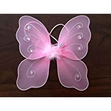 Allaccessories Pequeñas alas de Hada para bebés, Color Rosa y Blanco, ángel Plateado,