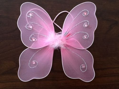 FAIRY WINGS WITH SILVER GLITTER AND JEWEL DETAIL 22CM X 20CM (Pink) ()