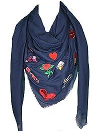 Mevina Schal mit Patches Glitzer Patch Stern Fransen Glitzersteine groß quadratisch Baumwolle Schal Halstuch Oversized Premium Qualität