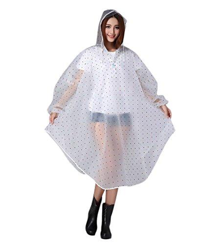 Damen Regenmantel langarm Mit Kapuze mit Muster Polka Dots Regenponcho Young Fashion durchsichtig Fahrrad Motorrad Camping Wandern Regen Poncho Umhang Regenjacke