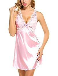 5c4bd0a454 Scallop Mujer Camisón Lencería Pijama de Satén Sin Espalda Escote Encaje  Cuello ...