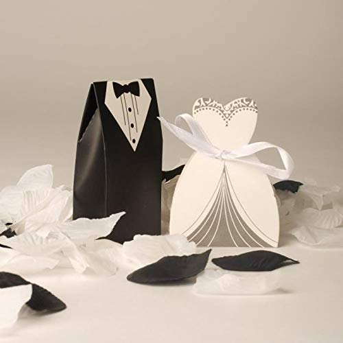 VEA-DE Mode-Tagesbedarf Hochzeit Pralinenschachtel Kuchen Box Bräute Bräutigam Hochzeit Geschenk Box Süßigkeiten Verpackung Box Party Supplies (100 Stücke)