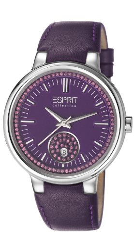 Esprit Collection Maia Women's Quartz Watch with Purple Dial Analogue Display and Purple Leather Strap EL101972F03