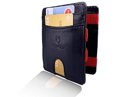 REWOLV® Magic Wallet mit Münzfach - Mini Geldbeutel mit RFID Schutz für Damen und Herren + GRATIS Geschenkverpackung - Klein und perfekt für unterwegs das Slim Portemonnaie/Geldbörse -Schwarz-Rot -