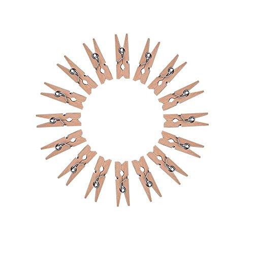 100 Pinzas clip decorativas de madera Mini colgadores para fiestas Set de grapas blancas para fotograf/ías y para colgar regalos