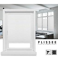 Grandekor *Plissee Klemmfix Fenster 50 cm Plissee Rollo ohne Bohren Sonnenschutz Jalousie Faltrollo für Fenster und Tür - Weiß 90x130 (BxH)
