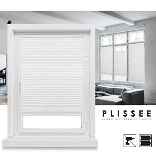 Grandekor *Plissee Klemmfix Fenster 50 cm Plissee Rollo ohne Bohren Sonnenschutz Jalousie Faltrollo für Fenster und Tür - Weiß 70x100 (BxH)