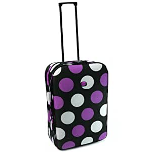 Karabar Super Lightweight Expandable Suitcases - 3 Years Warranty! (20 Inch, Black/Purple/White)