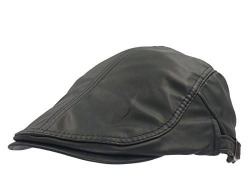 Roffatide PU Leder Schirmmütze Schiebermütze für Herren und Damen Flatcaps Newsboy Cabbie Ivy Hüte Vintage Schwarz
