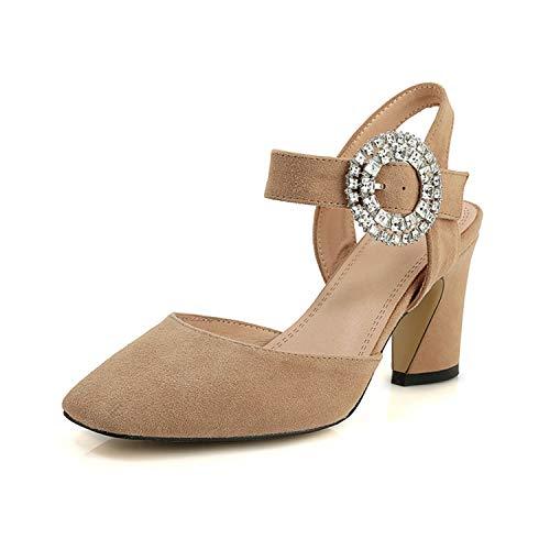TRFLH& Wholesale Kid Suede Buckle Strap Shoes Woman Sandals Female Square Heels Summer Sandals Woman Shoes apricot 5