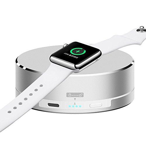 Apple Watch Kabelloses Ladegerät Pinhen 1500mAh Ladegerät Charger Station Dock Aluminium Halterung Ständer Powerbank Portable Externer Akku Ladegerät für Apple Watch Series 2 (White)