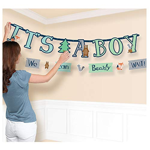 Amscan International- Cinta decorativa, Color banner jumbo letter kit bear-ly wait (120393)