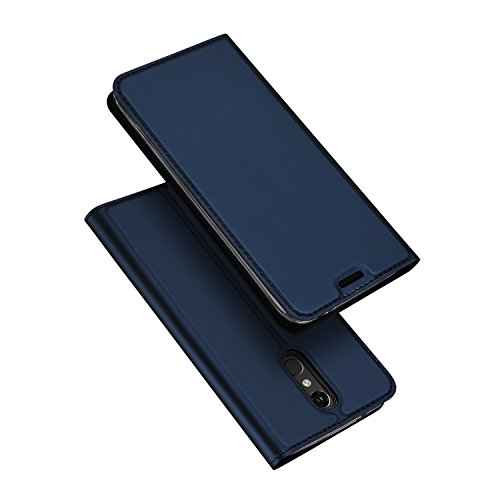 Foto de Happon Funda LG K8 2018 Cuero de La PU Ranuras Ultra Delgadas a Prueba Golpes Funda para LG K8 2018(Azul Marino)