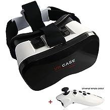 VR Case 5 Plus, Gafas de Realidad Virtual 3D con ajustable lente y Correa + Inalámbrico Mando Control Remoto para Videojuegos y 3D películas para iPhone, Android, Samsung Galaxy Note 4, LG Nexus 4, Gafas VR