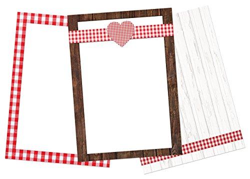 SET: 30 Blatt Briefpapier Druckerpapier rot weiß kariert HERZ HERZEN Holz-Optik Rahmen 3 Designs a 10 Stück DIN A4 100g Schreibpapier Motiv-Papier Bastelpapier DIN A4 Brief-Bogen