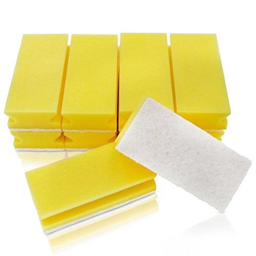 awiwa XXL Putzschwamm Küchenschwamm Spülschwamm Schwamm für Küche und Bade (kratzfrei, Griffleiste, maschinenwaschbar,10-er Pack) (gelb-weiß)