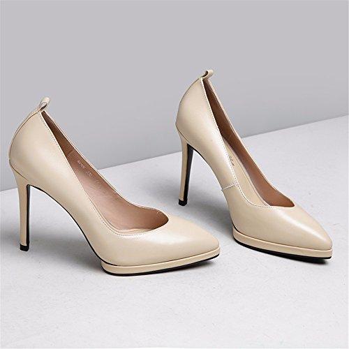 HXVU56546 À L'Automne De Nouveau Le Cuir Synthétique Chaussures Femmes Chaussures À Talons Hauts Avec Fine Tip-Up Chaussures Raw Color